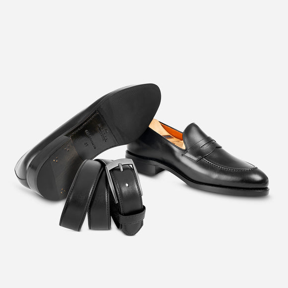 Combo Loafers in black + Belt in black