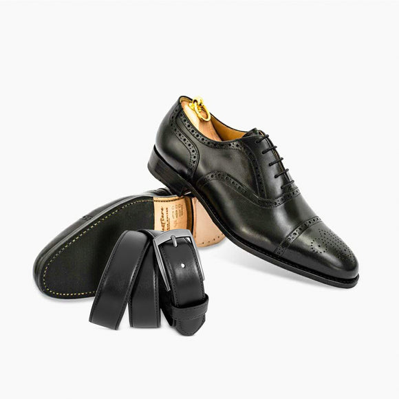 Combo Oxford semibrogue black + Belt in black