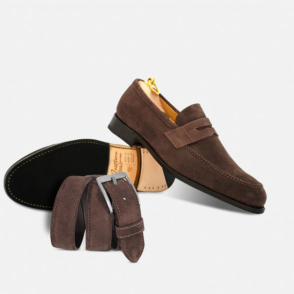 Combo loafers in suede + Belt in suede brown
