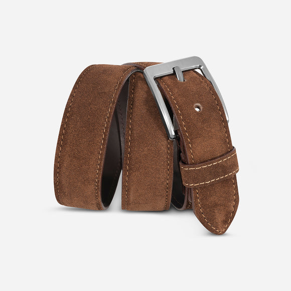 Belt suede in med brown