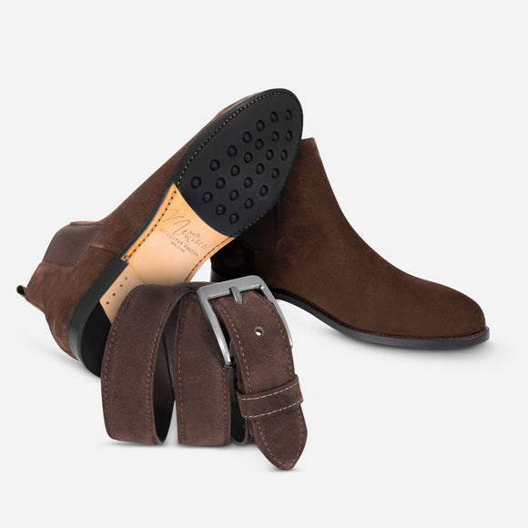 Combo Chelsea in suede + Belt in suede brown