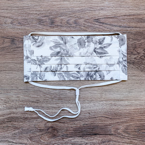 Pleated Cotton Face Mask- Floral Greyscale Silhouette