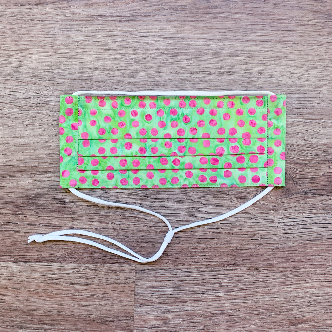 Pleated Cotton Face Mask- Pink on Green Polka Dot