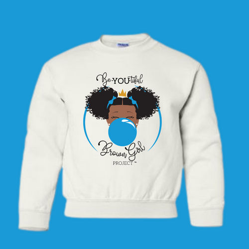 Classic BeYOU Sweatshirt  (White Sweatshirt/Blue Bubble)