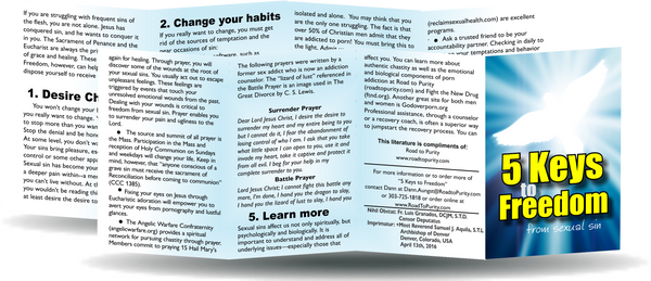 5 Keys to Freedom from Sexual Sin - 8pg mini pamphlet (p) - ( CATHOLIC English version)