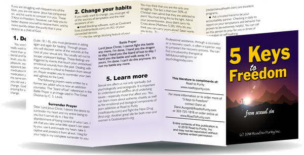 5 Keys to Freedom from Sexual Sin - 8pg mini pamphlet (b)-( CHRISTIAN version) Bulk from $20
