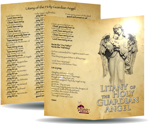 "Litany of the Holy Guardian Angel - Prayer Card / 3"" x 6"" folded"