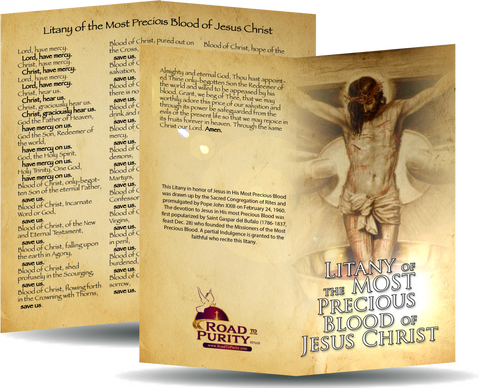 "Litany of the Most Precious Blood of Jesus Christ - Prayer Card / 3"" x 6"" folded"