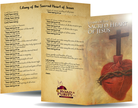 "Litany of the Sacred Heart of Jesus - Prayer Card / 3"" x 6"" folded"