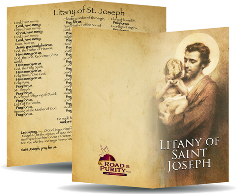 "Litany of Saint Joseph - Prayer Card / 3"" x 6"" folded"