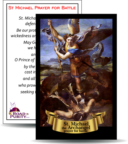 "St Michael Prayer for Battle - Holy Card / 2 1/4""x 3 1/2"" (b)"