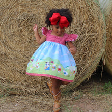 Load image into Gallery viewer, Farm Girl Dress - Farm Animal Dress - Farm Animal Birthday Dress - Country Girl Dress - Cow Dress  - Farm Dress