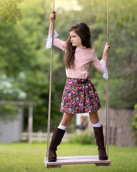 Girls Floral Fall Kilt Skirt and Top