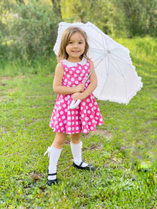 Girls Pink Polka Dot Dress