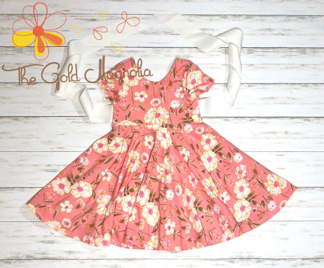 Girls Coral Floral Knit Dress