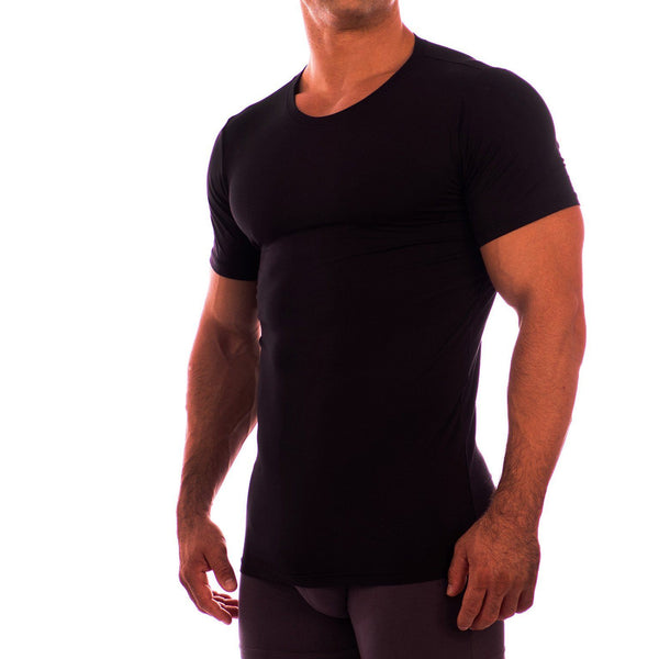 Crew Neck Short Sleeve Undershirt Obviously Apparel Black Small