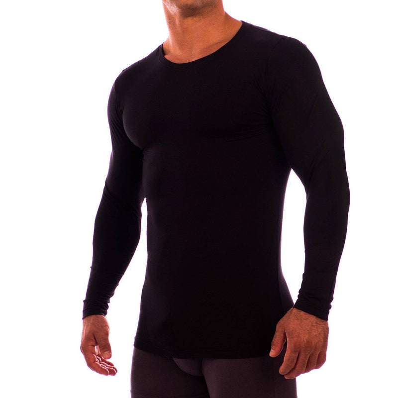 Crew Neck Long Sleeve Undershirt Obviously Apparel Black Small