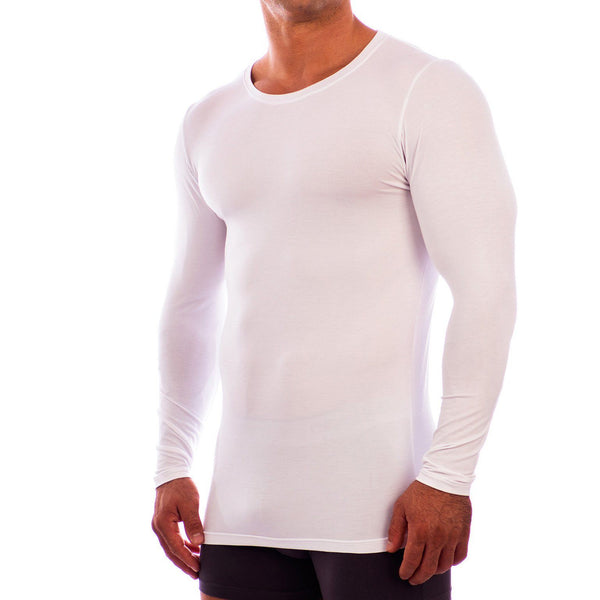 Crew Neck Long Sleeve Undershirt Obviously Apparel White Small
