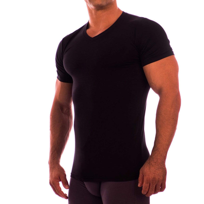 V Neck Short Sleeve Undershirt Obviously Apparel Black Small