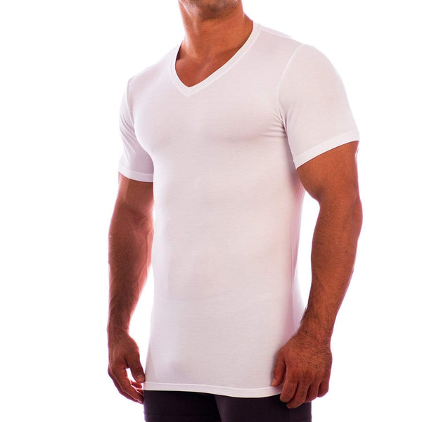 V Neck Short Sleeve Undershirt Obviously Apparel White Small