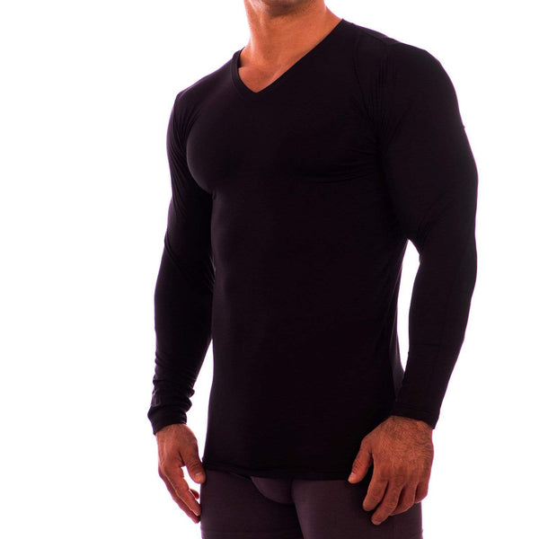 V Neck Long Sleeve Undershirt Obviously Apparel Black Small