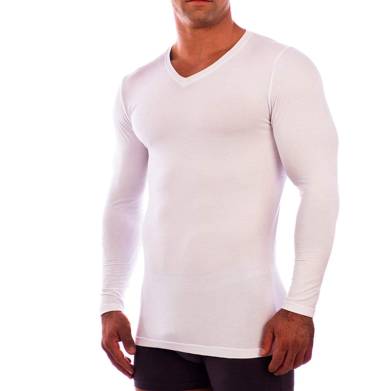 V Neck Long Sleeve Undershirt Obviously Apparel White Small