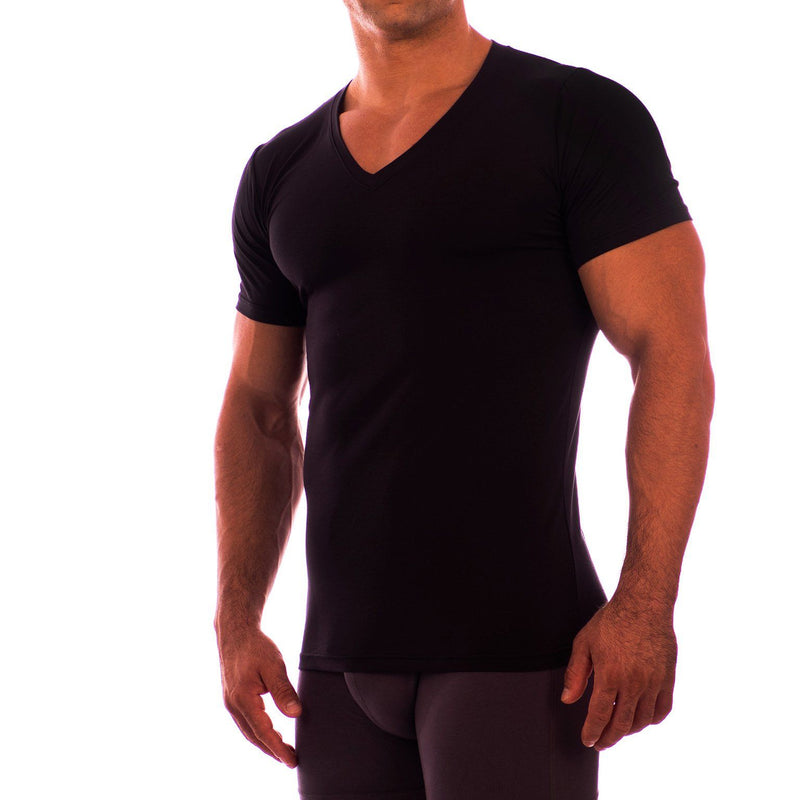 Deep V Neck Short Sleeve Undershirt Obviously Apparel Black Small