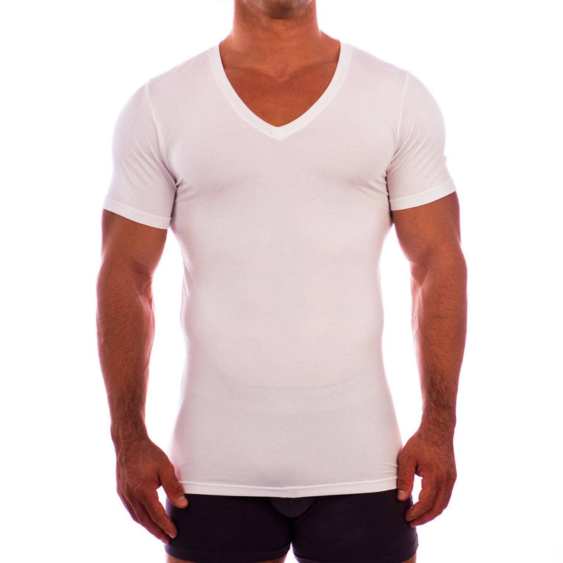 Deep V Neck Short Sleeve Undershirt Obviously Apparel