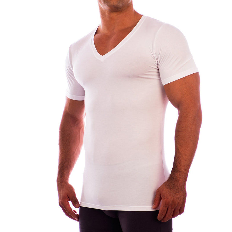 Deep V Neck Short Sleeve Undershirt Obviously Apparel White Small