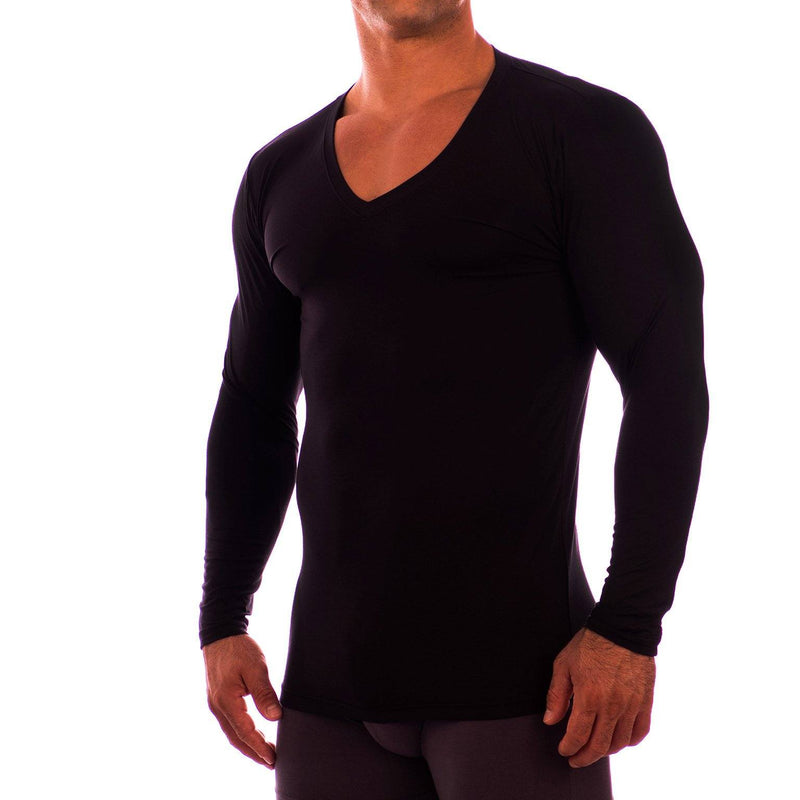 Deep V Neck Long Sleeve Undershirt Obviously Apparel Black Small