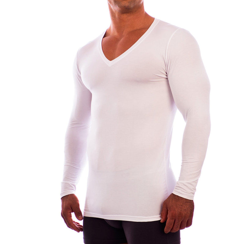Deep V Neck Long Sleeve Undershirt Obviously Apparel White Small