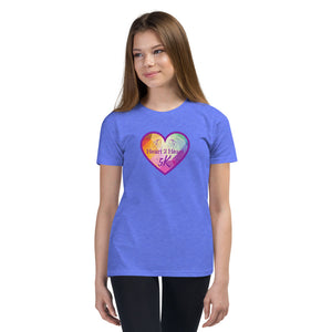 girl wearing a premium heather Columbia blue t shirt with purple heart