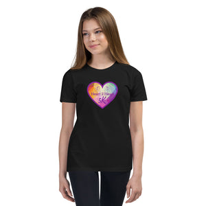 girl wearing a premium black t shirt with purple heart
