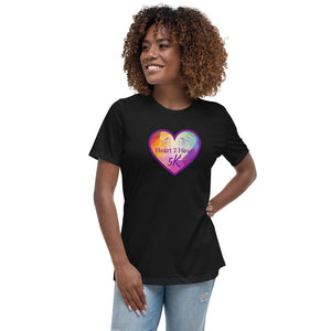 woman wearing a black relaxed fit t shirt with purple heart