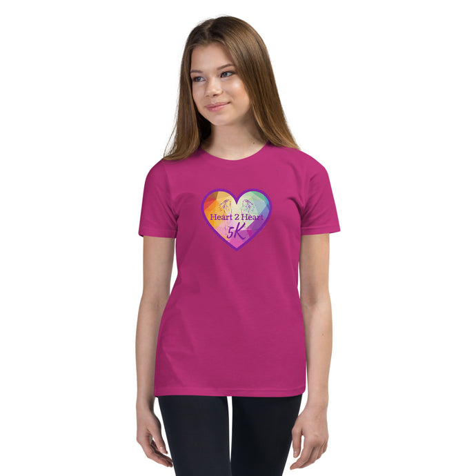 girl wearing a premium berry t shirt with purple heart