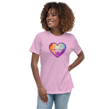 Load image into Gallery viewer, woman wearing a heather prism lilac relaxed fit t shirt with purple heart