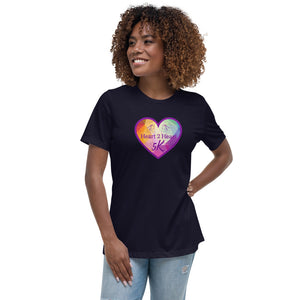 woman wearing a navy relaxed fit t shirt with purple heart