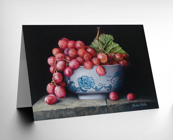 Bowl of Red Grapes - Greeting Card