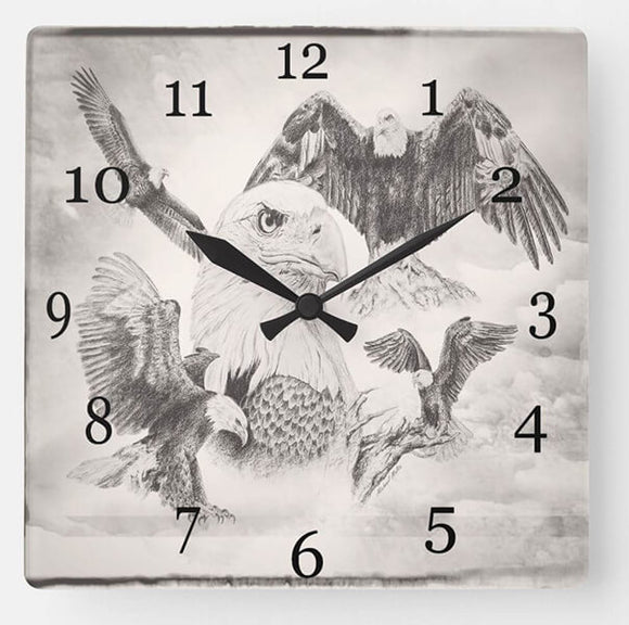 Eagle Montage - Wall Clock