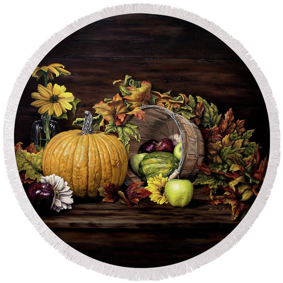 A Touch Of Autumn - Round Beach Towel