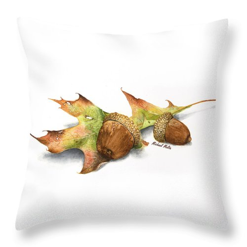 Autumn Oak And Acorns - Throw Pillow