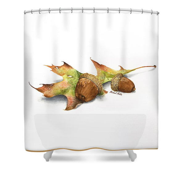 Autumn Oak And Acorns - Shower Curtain