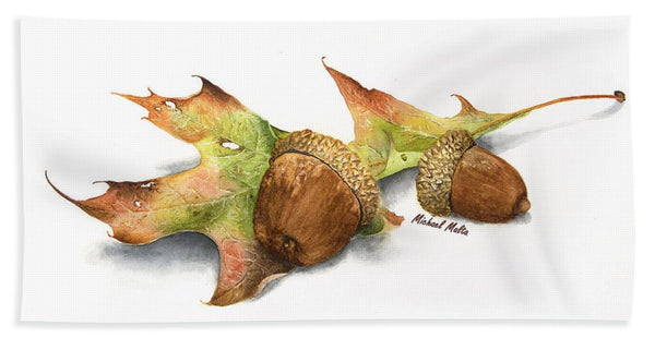 Autumn Oak And Acorns - Beach Towel
