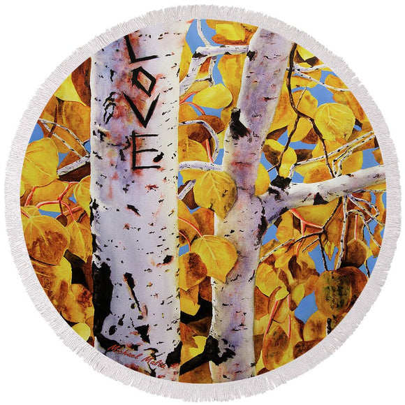 Quaking Aspens - Round Beach Towel