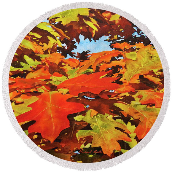 Burst Of Autumn - Round Beach Towel