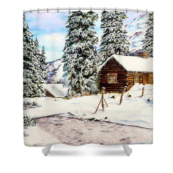 Snowy Retreat - Shower Curtain