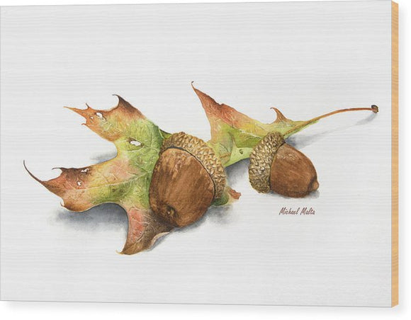 Autumn Oak And Acorns - Wood Print