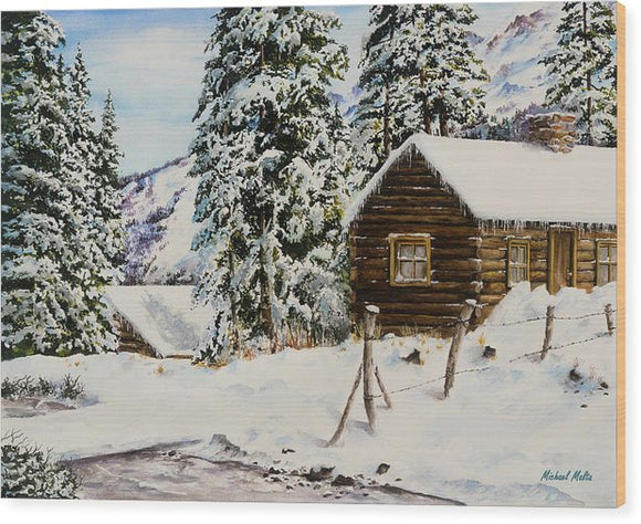 Snowy Retreat - Wood Print