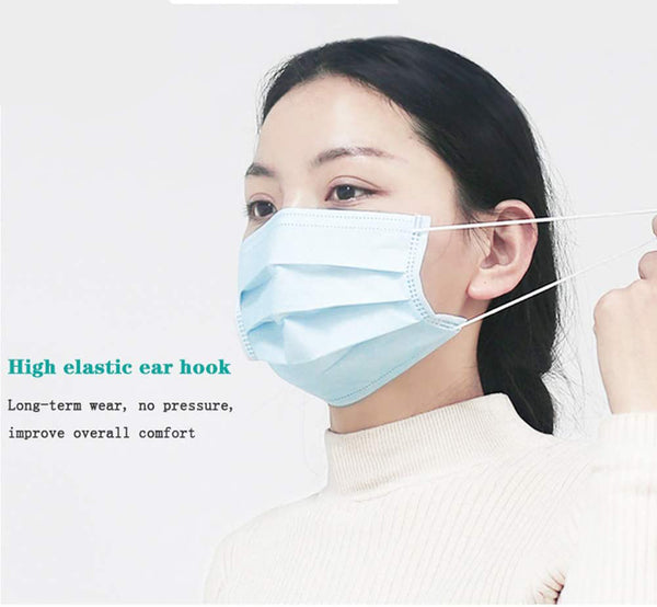 Disposable 3-Ply Face Mask With Ear Loop - Blue (50 Masks Per Box)