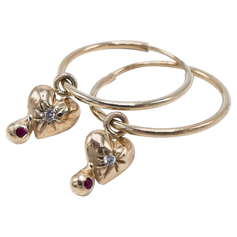 White Diamond Ruby Gold Heart Earring